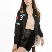 Wholesale Fashion Women embroidery Badge decorate jacket Casual Loose Double pocket Long sleeve Coat Tops color C160