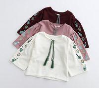 autumn leaves design - 2017 Fashion Vintage Design Loosen Leaves Smocked Children Girls Shirts Tassel Spring Retro Embroidered Tops Wear B4452