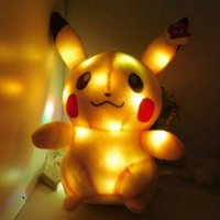 Wholesale Christmas New Poke Plush Toys Light Pikachu Bulbasaur Squirtle Charmander Stuffed Animals Baby Doll cm Inch E1563