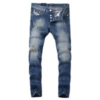 Wholesale top quality Tide hole fashion Dsel men jeans washed white straight blue jeans men s trousers us size