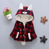 Wholesale Kids Baby Lovely Girls Long Sleeve Hooded Coat Wool Warm Winter Outerwear Jacket Plus Thick Cashmere Rabbit Ears Hooded Jacket