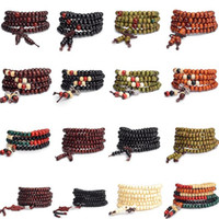 achat en gros de bracelets de bois de santal pour les hommes-Bracelet homme perlé 6mm naturel bois de santal rouge DHL prière Japa rosaire mala tibétain bouddhiste méditation bois chapelet perlé Bracelet