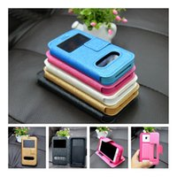 Wholesale Double window view pu leather silicone flip magnet universal phone case