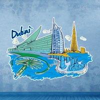 al packaging - Dubai Burj Al Arab Hotel Landmark Wall Sticker Wedding Decor Vinyl Waterproof Wall Pvc Sticker Wallpaper Decal Removable