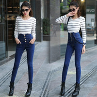 Wholesale 2016 Autumn New Women Slim Package Hip High Waisted Jeans Removable Denim Pants Foot Straps Student Pen Trousers