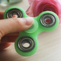 Plastic ss bike - 2017 Luminous Handspinner EDC Hand Spinner With R188 Full ss Bearing Gray Glow In The Dark Tri Spinner Fidget Desk Toy Decompression Toys