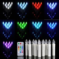 battery operated candles remote - 10pcs Party Wedding Christmas Home Tree Decoration Wireless Remote Control Colors LED Candles Battery Operated Light