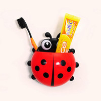 Wholesale New Cartoon Coccinella Septempunctata Ladybug Sucker Toothbrush Holder Suction Hooks Household Items Bathroom Toothbrush Rack