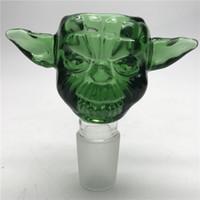 Precio de Shisha humo de colores-New Yoda Grueso Tazón Masculino Colorido 14mm Tazones De Funil De 18mm Para Bong De Vidrio Heady Bong Accesorios Para Fumar Cachimbas Shisha