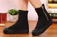 base high boots - The new high side zippers help female canvas shoes high boots large base platform shoes leisure cotton shoes