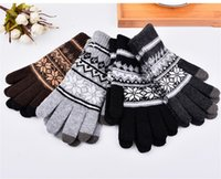 Wholesale Mens Winter Gloves Full Finger Hand Warmer Touch Screen Gants Male Knitted Wool Bicycle Thicken Mittens luvas de inverno Colors