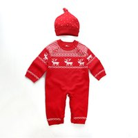 Wholesale 16 new children s clothing for fall winter Christmas red Fawn male and female baby knitting wool jumpsuits romper