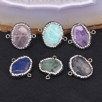 amazon bead - 10pcs Nature Amazon Amethyst Labradorite Quartz Assorted Stone Druzy Connector Beads with Crystal Zircon Paved Beads For Jewelry