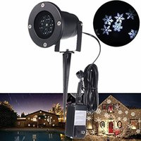 Wholesale 2016 Waterproof Moving Snow Laser Projector Lamps Snowflake LED Stage Light For Christmas Party Landscape Light Garden Lamp Outdoor