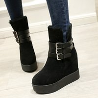 add shoe strap - Cozy Fur Black Suede Buckle Platform Wedge Shoes Add Plush Keep Warm Winter Boots Size To