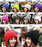 Wholesale Winter Fashion Beanie Classic Tight Knitted Fur Pom Poms Hat Women Cap Winter Beanie Headgear Headdress Head Warmer Top Quality