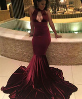 Wholesale 2017 Sexy Burgundy Mermaid Prom Dresses Velvet Halter Sweep Train Simple Formal Evening Party Gowns Custom Made Cheap Dresses For Women