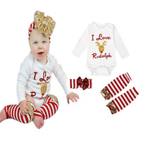 Wholesale Long Sleeve Baby Infant Xmas Outfits Children Christmas Sets Clothes Golden Sanda Reindeer Dress Striped Short Pants Free Shippiing