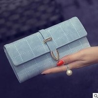 Wholesale The new long grind arenaceous thirty percent purse embroider line lady wallet restoring ancient ways change purse