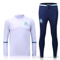 Wholesale 2016 Ligue Maillot de foot Marseille soccer training suits home white Survetement tracksuits Uniforms shirts long sleeve tights pants