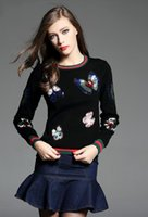 Wholesale Newest Fashion Autumn Designer Runway Women s Stunning Butterfly beading Embroidery Sweater patchwork solid Sweater