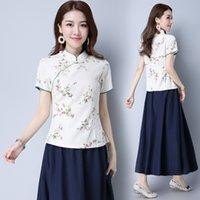 Wholesale Women s spring folk style printing small collar classical Pankou slim skirt coat increase