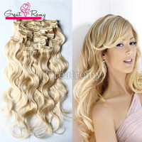 Wholesale clip in human hair extensions Diff Set inch body wave clip in hair extension Multiply Colors set full head can be dyed dark