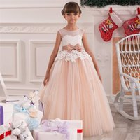 ballroom dresses gowns - 2017 Blush Pink Flower Girl party dress Princess Dress Lush Fluffy Lace Appliques Ballroom Tulle Organza Ball Gowns with Bow Beading