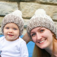 Boy Spring / Autumn Crochet Hats 2016 Parent-Child Pom Pom Baby Mum Ball Wool Beanie Winter Knitted Hats Warm Knitted Beanie Knit Hedging Skull Caps Hand Crochet Caps Hats A