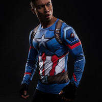 Wholesale 2017NEW D Printed T shirts Captain America Compression Shirt Long Sleeve Cosplay Costume Clothing Tops Male Halloween Costumes For Men