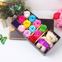 bear scents - Scented Bath Artificial Rose Soap Flower Petal Bouquet Decoration with Gift Box and Bear For Wedding Valentine s Day