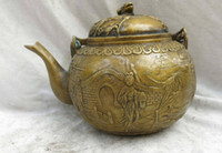 belle room - China brass copper carved beautiful lotus flower frog belle teapot Statue