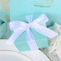baby blue party supplies - Tiffany Blue Gold candy box Ribbon wedding paper candy Gift Boxes Wedding baby shower Party supplies