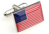 Wholesale Hot Selling USA American Flag Cufflinks for men shirts high quality Cuff links