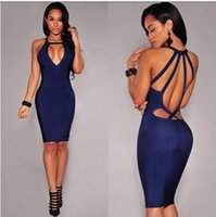 b pencil - 2017 Summer Formal Dress sexy Hollow New Casual Little Blue Sexy Charm Deep V Neck Sleeveless Backless Package Hip Pencil Skirt B