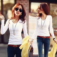 Wholesale New fashion Black and Whiter blusas t shirt women korean style sexy V neck tops tee clothes Long sleeve T shirt Slim
