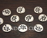 Wholesale Antique Silver Mini Round Leaf Charm Diy Jewelry Findings Jewelry Accessories mm A990