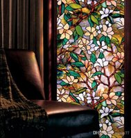 Wholesale Orchid Window Film Stained Glass Home Room Privacy DIY Art Decoration