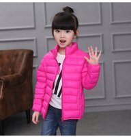 Wholesale Autumn Winter Girls Down Coat Solid Long Sleeves Good Quality Warm Coat Kids Outwear Unisex Down Coat Winter Clothes Colors