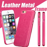 Wholesale Luxury Aluminum Metal Frame Leather Back Case Smart Cover For iPhone S Plus inch SE S With Logo MOQ
