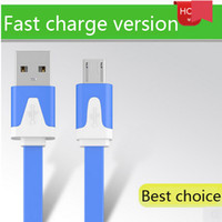 Wholesale Flat Micro USB Cable For Samsung S4 S6 NOTE Sony LG HTC M ft M ft M ft High Speed Data Sync Charging Line