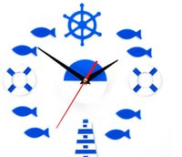 Wholesale 2016 pirate sea wall clock DIY art wall stickers decoration watch for living room kinds parts