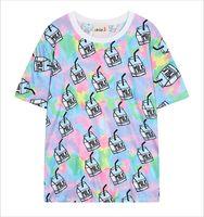 Women O-Neck Short Wholesale-2015 Harajuku Tops Women Summer Style Milk Printed T-shirts New Fashion Digital Printing T shirt Short Sleeve Tees T2240