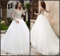 Wholesale Tulle Gown Long Train LOng Sleeve Wedding Dresses Iullsion Design Beading Pearls Major Beading Cheap Lace Up Back Beautiful High Quality