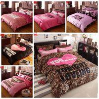 Wholesale VS pink warm velvet bedding set Duvet Covers Bed Sheet Flannel Bedclothes Set Leopard Pillowcases Fashion Bedding Home Textiles b1127