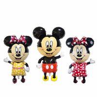 achat en gros de jouets de souris minnie gros-Grossiste-Nouveau 112 * 63cm Grande taille Cartoon Mickey Minnie souris ballons bébé jouets ballons anniversaire fête fournitures décoration