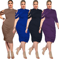 blasting caps - 2018 Spring Blasting Plus size Pure Color Dress XXXXL Irregular Sexy Dress Discount Store