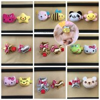Wholesale 30PCS Pet Dog Hair Clip cartoon animal frog panda bee mixed style Hairpins Grooming Bows accessories topknot ornaments PD006