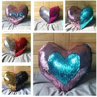 Wholesale Pillow Case Mermaid Sequins Magic Glamour Pillow Cover Mermaid Heart Shaped Pillow Cases Bright Glitter Car Cushion Home Sofa Decoration New