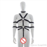 leather bondage harness - Male Leather Restraints Bondage Gear Body Harness Bdsm Chastity Cock Ring Sex Restraint Toys For Men